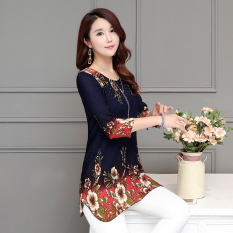 Compare Korean Style Female Mid Length Three Quarter Length Sleeve Top T Shirt Blue Prices