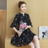 Korean Style Female New Style Slimming Floral Skirt Chiffon Dress Coupon Code
