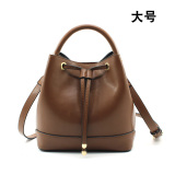 Brand New Korean Style Female Summer New Style Small Bag Bucket Bag Caramel Color Large