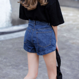 Korean Style Female Slim Fit Slimming Shorts Retro Cowboy Shorts Dark Blue Color Coupon