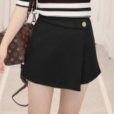 The Cheapest Women S Korean Style High Waisted A Line Short Split Skirt Black Master Map Paragraph Black Master Map Paragraph Online