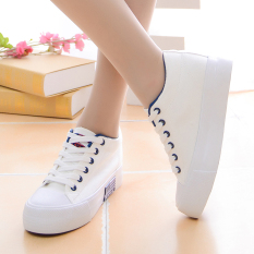 Recent Women S Korean Style Low Top Platform Canvas Shoes White White