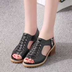 Women S Korean Style Mid Heel Block Heel Sandals Black Black Best Price