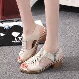 Women S Korean Style Mid Heel Block Heel Sandals Off White Color Off White Color Coupon Code