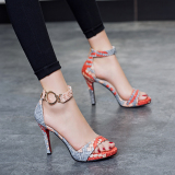Shop For Korean Style A Word Buckle Fine With Sandals High Heeled Shoes Red