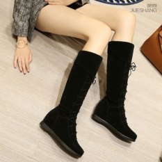 Korean Style Flat Student High Top Boots Black Coupon