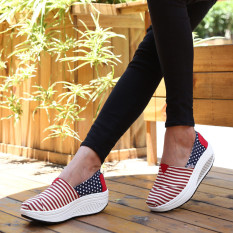 The Cheapest Women S Korean Style Platform Canvas Shake Shoes 1286 Striped Red Star Blue 1286 Striped Red Star Blue Online