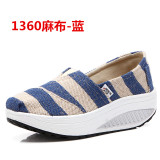 Best Reviews Of Women S Korean Style Platform Canvas Shake Shoes 1360 Linen Blue 1360 Linen Blue