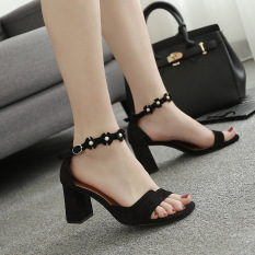 Korean Style Girls With Gel Toe High Heels Buckle Sandals Black Cheap