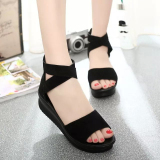 Who Sells Korean Style Female Semi High Heeled Muffin Student S Shoes Black Sandals Black