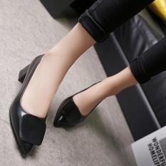 Discount Korean Style Gray Female Semi High Heeled Shoes Heels Black Square Buckle Models Oem