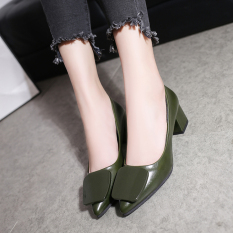 Get The Best Price For Korean Style Gray Female Semi High Heeled Shoes Heels Dark Green Color Square Buckle Models