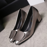 Korean Style Gray Female Semi High Heeled Shoes Heels Gray Square Buckle Models Compare Prices