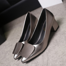For Sale Korean Style Gray Female Semi High Heeled Shoes Heels Gray Square Buckle Models