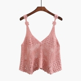 Compare Prices For Korean Style Stitched Pattern Crochet Porous Tank Cover Up Pink