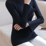 Buy Korean Style Knitted Female Autumn Base Shirt Pullover Sweater Black Oem Online
