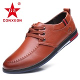 Low Cost Korean Style Leather New Style Round Men S Shoes Shoes Brown