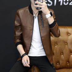 Men S Korean Style Stylish Leather Slim Fit Jacket Coat Coffee Sale