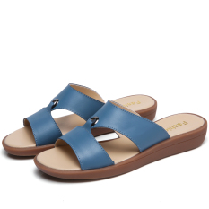 Promo Korean Style Leather Outer Wear Flat Beach Sandals Slippers Blue