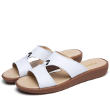 Discounted Korean Style Leather Outer Wear Flat Beach Sandals Slippers White