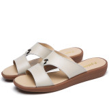 Price Korean Style Leather Outer Wear Flat Beach Sandals Slippers White Color On China