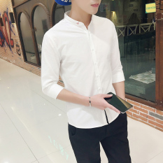Review Korean Linen White Men 3 4 Sleeve Shirts Short Sleeved Shirts Dark Blue Color Dark Blue Color Other On China