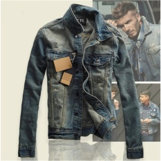 Korean Style Men Boy Fashion Retro Slim Denim Jacket Jeans Casual Coat - intl