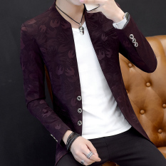 Korean-Style Men Casual Collar Slim Fit Top Suit (02 Swallow Red) By Taobao Collection.
