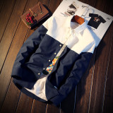 The Cheapest Korean Style Long Slim Fit And White Shirt Spring Men S Shirts Cs05 Dark Blue Color Online