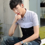 Review Men S Casual Slim Fit Students Plaid Shirt Shirts China
