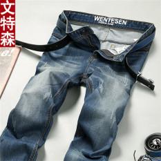 Best Deal Korean Men Slim Pants For Men Ripped Jeans Light Blue 401 Light Blue 401