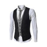 Deals For Korean Style Men Slim Vest Suit Vest Waistcoat Coat Jacket Business Suits Vests Intl