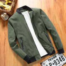 Korean-style men spring New style bomber jacket (Dark green color)