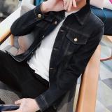 Men S Korean Style Slim Fit Denim Jacket 777 Black 777 Black Free Shipping
