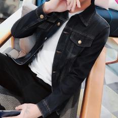 Low Price Men S Korean Style Slim Fit Denim Jacket 777 Black 777 Black