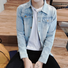 Sale Men S Korean Style Slim Fit Denim Jacket 777 With Holes Light Blue 777 With Holes Light Blue Online China