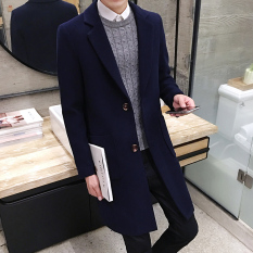 Sale Korean Style Men S Mid Length Slim Fit Woolen Coat Dark Blue Color Jay Chong Cheap