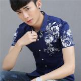 Buy Korean Men Slim Fit Printed Men S Shirts Short Sleeved Shirts 365 Sapphire Blue Color 365 Sapphire Blue Color Online