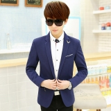 Deals For Korean Style Men S Youth Slim Fit Single West Dark Blue Color