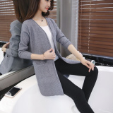 Compare Price Women S Korean Style Midi Knitted Cardigan Gray Gray Oem On China