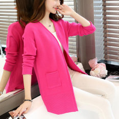 Review Women S Korean Style Midi Knitted Cardigan Rose Rose China