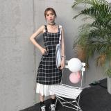 Discount Korean Style Mid Length Hem Pleated Dress Plaid Vest Skirt Plaid Skirt One Piece