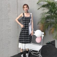 Buy Korean Style Mid Length Hem Pleated Dress Plaid Vest Skirt Plaid Skirt One Piece Cheap China