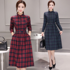 Compare Korean Length Plaid Flare Dress Shirts Dress Red Red
