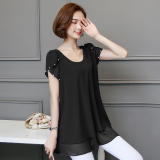 Korean Style Mid Length Slimming Plus Sized Female Top Short Sleeved T Shirt Dress Black On Line