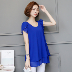 Top Rated Korean Style Mid Length Slimming Plus Sized Female Top Short Sleeved T Shirt Dress Blue