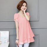 Lowest Price Korean Style Mid Length Slimming Plus Sized Female Top Short Sleeved T Shirt Dress Pink
