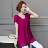 Price Korean Style Mid Length Slimming Plus Sized Female Top Short Sleeved T Shirt Dress Rose Color On China