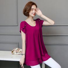 Brand New Korean Style Mid Length Slimming Plus Sized Female Top Short Sleeved T Shirt Dress Rose Color