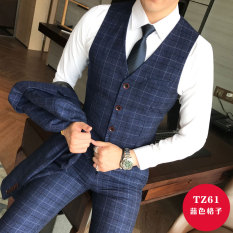 New Products Korean Style Slim Fit Youth Waistcoat Suit Pants Two-Piece Set Male England Pattern Vest Suit Men Waistcoat Fashion By Taobao Collection.